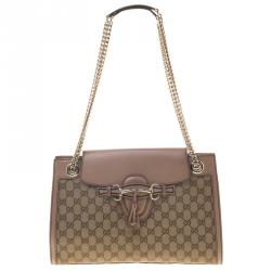 b704419c7271a0 Sold. Gucci Beige GG Canvas Leather Large Emily Chain Shoulder Bag