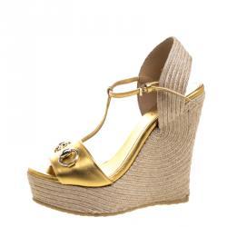 43ef7893b8a Gucci Gold Metallic Leather Horsebit T-Strap Espadrille Wedge Sandals Size  36