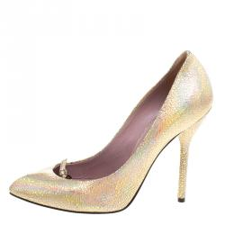 Gucci Metallic Crackled Leather Beverly Pumps Size 36