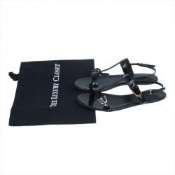 Gucci Black Guccissima Patent Buckle Detail T-Strap Sandals Size 36