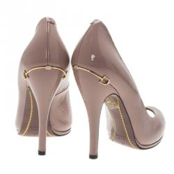 Gucci Beige Patent Elizabeth Peep Toe Pumps Size 37