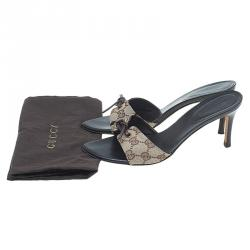 Gucci Beige Guccissima Canvas Knotted Bow Mules Size 37.5