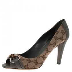 907c2b146c Gucci Beige Guccissima Canvas and Grey Leather Kitty Horsebit Peep Toe  Pumps Size 39