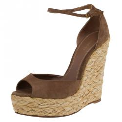 13aea5364 Gucci Brown Suede Ankle Strap Woven Jute Platform Wedges Size 39