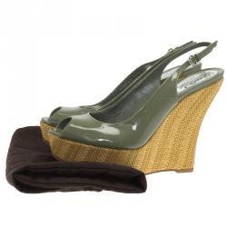 Gucci Green Patent Strafish Raffia Slingback Platform Wedge Sandals Size 38.5