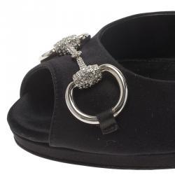 Gucci Black Satin D'orsay Crystal Horsebit Pumps Size 39