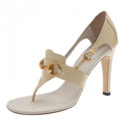 Gucci Cream Patent Horsebit Thong Sandals Size 36