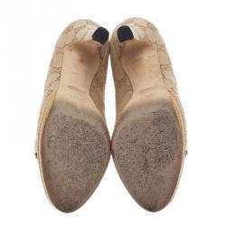 Gucci Guccissima Canvas Horsebit Peep Toe Platform Pumps Size 36.5