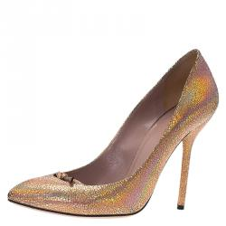 44a7f16daa7 Gucci Metallic Crackled Leather Beverly Pumps Size 38.5