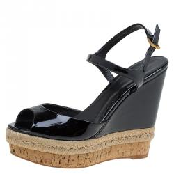 Gucci Black Patent Hollie Wedge Sandals Size 38.5