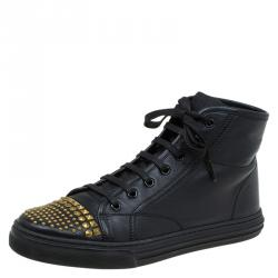 cfeb336c12d Gucci Black Studded Leather California High Top Sneakers Size 38