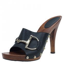 378eb97f693 Gucci Black Leather Icon Bit Clogs Size 38.5