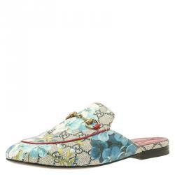 4dff740f8b896a Gucci Beige GG Supreme Blooms Printed Canvas Princetown Horsebit Loafer  Slides Size 37.5