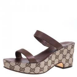 c0c988866 Gucci Brown Leather and Beige GG Canvas Clog Platform Slides Size 38