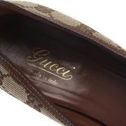 Gucci Beige Canvas and Leather GG Bamboo Horsebit Pumps Size 36