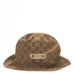 a9268725d4afc Gucci Brown Guccissima Satin Bow Detail Bucket Hat M