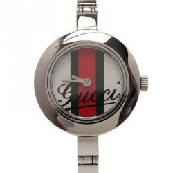 Gucci Logo Stainless Steel YA105 Women's Wristwatch 25MM