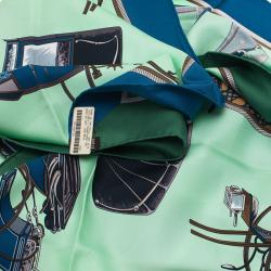 Hermes Green Les Voitures a Transformation Square Scarf