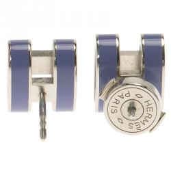 Hermes Pop H Periwinkle Lacquer Palladium Plated Stud Earrings