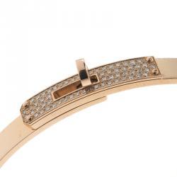 Hermes Kelly Diamond 18k Rose Gold Bangle Bracelet 16cm