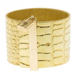 Hermes Croc Embossed Milanese Link and Padlock 18k Yellow Gold Wide Cuff Bracelet