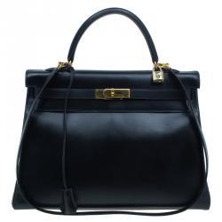 Hermes Noir Togo Calfskin 35cm Kelly Tote
