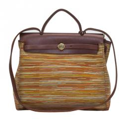 Hermes Multicolor Canvas and Leather Vibrato 2 in 1 Herbag 30 cm Bag