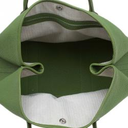Hermes Green Pelouse Togo Leather Garden Party MM Tote