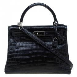 5a625ea7d1b0 Hermes Black Niloticus Crocodile Palladium Hardware Kelly Retourne 28 Bag