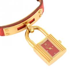 Hermes Red Gold-Plated Stainless Steel Kelly Women's Wristwatch 20MM