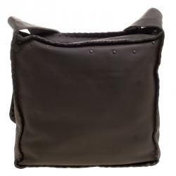 House Of Harlow 1960 Fatigue Green Leather Studded Devon Messenger Bag