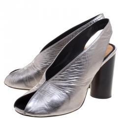 Isabel Marant Grey Metallic Leather Meirid Slingback Sandals Size 39