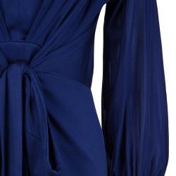 Issa Royal Blue Silk Long Sleeve Dress L