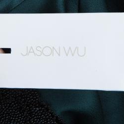 بلوزة جيسون وو بأكمام قصيرة وعنق مزخرف خضراء M