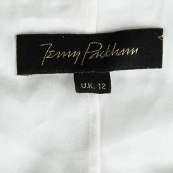 Jenny Packham Off White Sequin Embellished Beaded Sleeveless Gown M