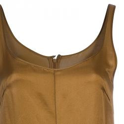 Jil Sander Brown Cotton Vintage Sleeveless Dress S