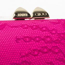Jimmy Choo Pink Lace and Leather Mini Charm Clutch