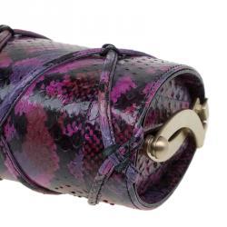 Jimmy Choo Multicolor Python Twill Tube Clutch