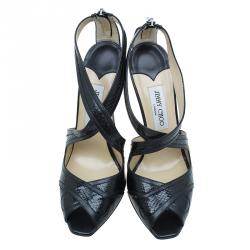 Jimmy Choo Black Leather Criss Cross Sandals Size 39.5