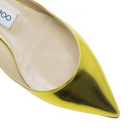 Jimmy Choo Yellow Gold Genoa Slingback Ballet Flats Size 37