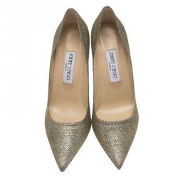 Jimmy Choo Gold Lamé Abel Pointed Toe Pumps Size 39