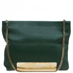 f38d88035b Jimmy Choo Green Leather Carrie Clutch