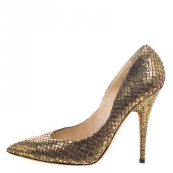 7e92b9d69562 Jimmy Choo Bronze Metallic Python Leather Anouk Pointed Toe Pumps Size 40