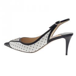 Jimmy Choo Black and White Studded Leather Dutch Slingback Sandals Size 38