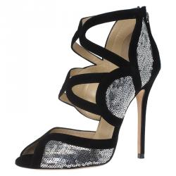 f63e0aef1457 Jimmy Choo Black Suede and Silver Sequins Tempest Sandals Size 38