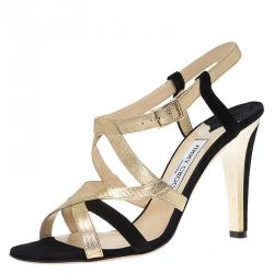 3eec3003f7e Jimmy Choo Gold Leather and Black Suede Strappy Sandals Size 40