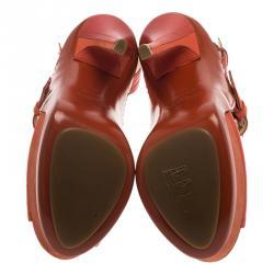 Jimmy Choo Orange Leather Letitia Multi Strap Platform Sandals Size 38.5