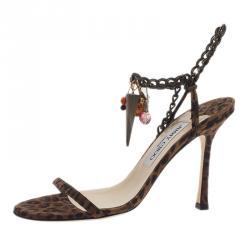 Jimmy Choo Leopard Print Sandals Size 37.5