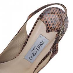 Jimmy Choo Brown Python  Peep Toe Slingback Sandals Size 38.5