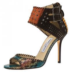 714ada57cb9 Jimmy Choo Multicolor Studded Snakeskin Ankle Strap Sandals Size 37.5